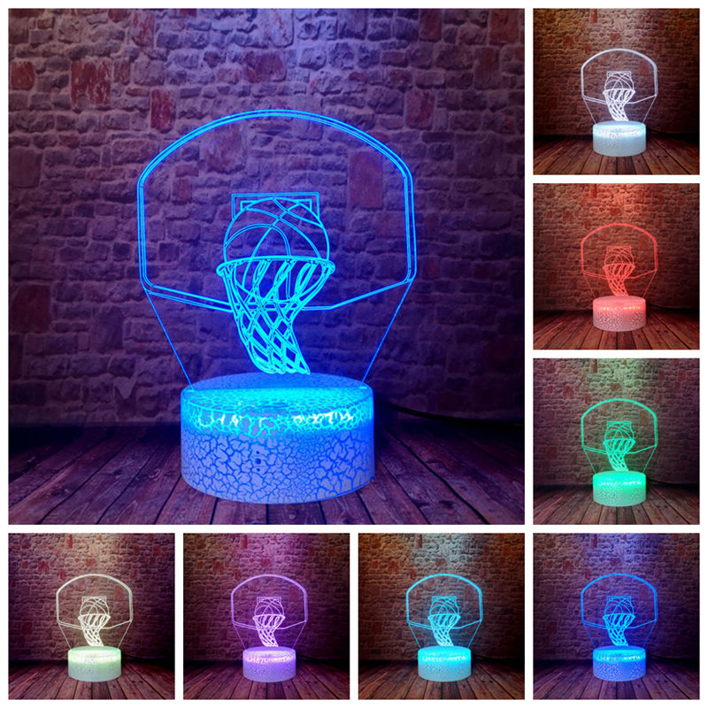 Creative Shoot Basketball Rim LED Touch Control Home Decor 7 Colors Table Bedroom Boys Night Lamps Holiday Kids Xmas Toys Gifts