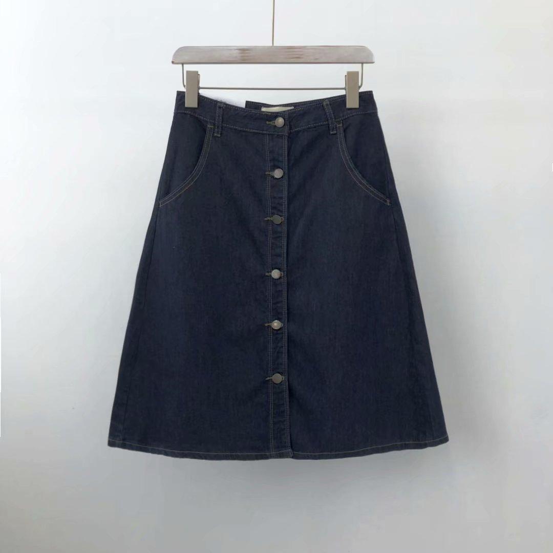 Retro French A- Line Cowboy Skirt Giant Slimming Legs Elegant Fashionable Simple High-waisted Mid-length Denim Skirt