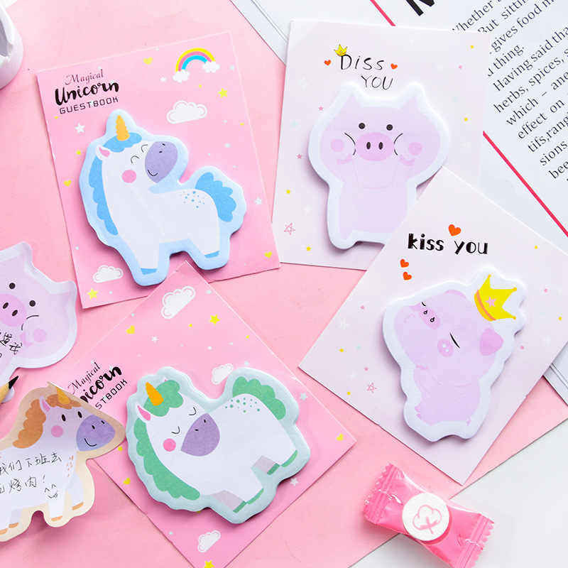 1Pcs Korea Kawaii Rainbow Unicorn Sticky Notes Kreatif Post Notepad DIY Memo Pad Alat Kantor Sekolah Stationery