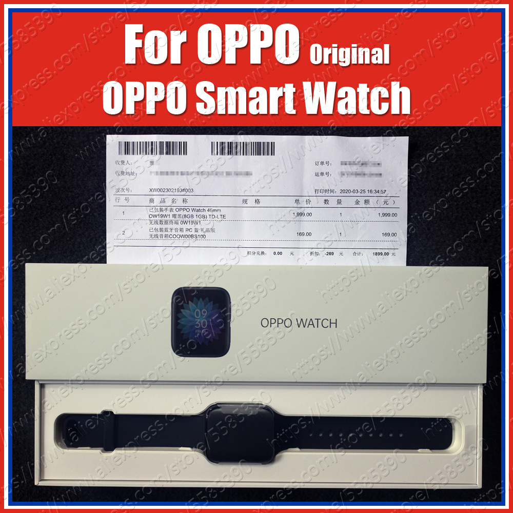 5ATM 46mm 1.91 Inch AMOLED 2020 Original OPPO Smart Watch 1GB 8GB Snapdragon 2500 Bluetooth WiFi Sport Health Heart Rate Sleep