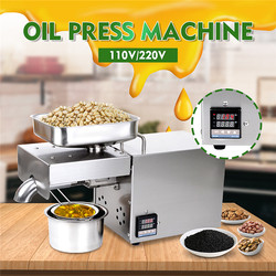 220V/110V Oil Press Machine Stainless steel LED Digital Temperature Control Peanutss Sesame Nut Oil extractor EU/US Plug