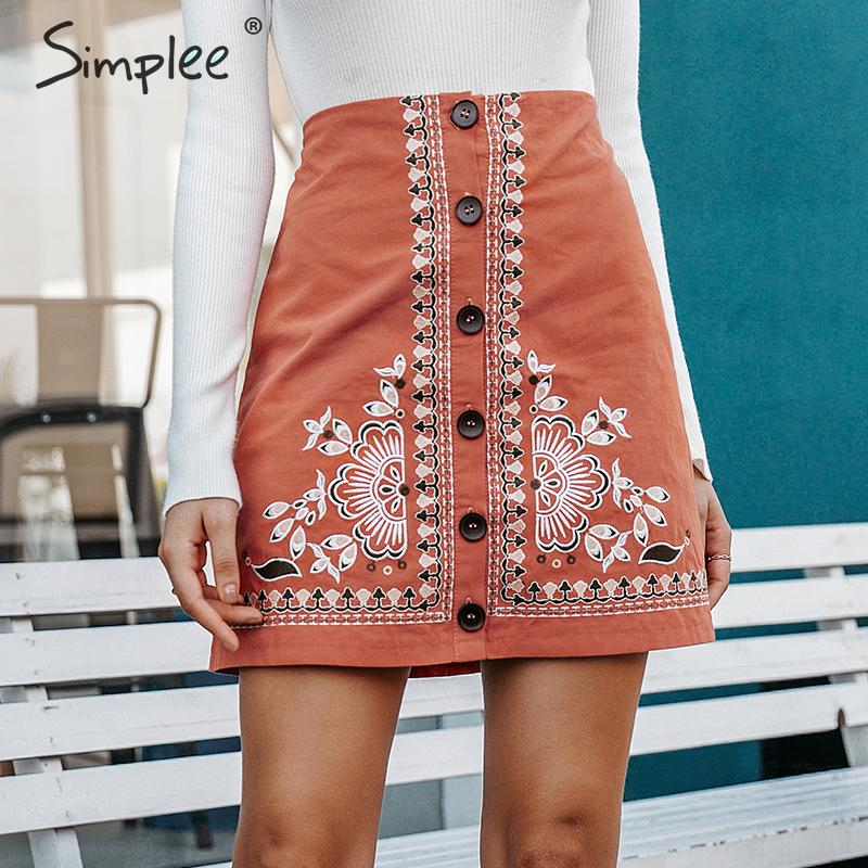 Image 2 - Simplee Enthic vintage floral embroidery women short skirt A line button female mini skirt High waist ladies bohemian skirt 2019-in Skirts from Women's Clothing