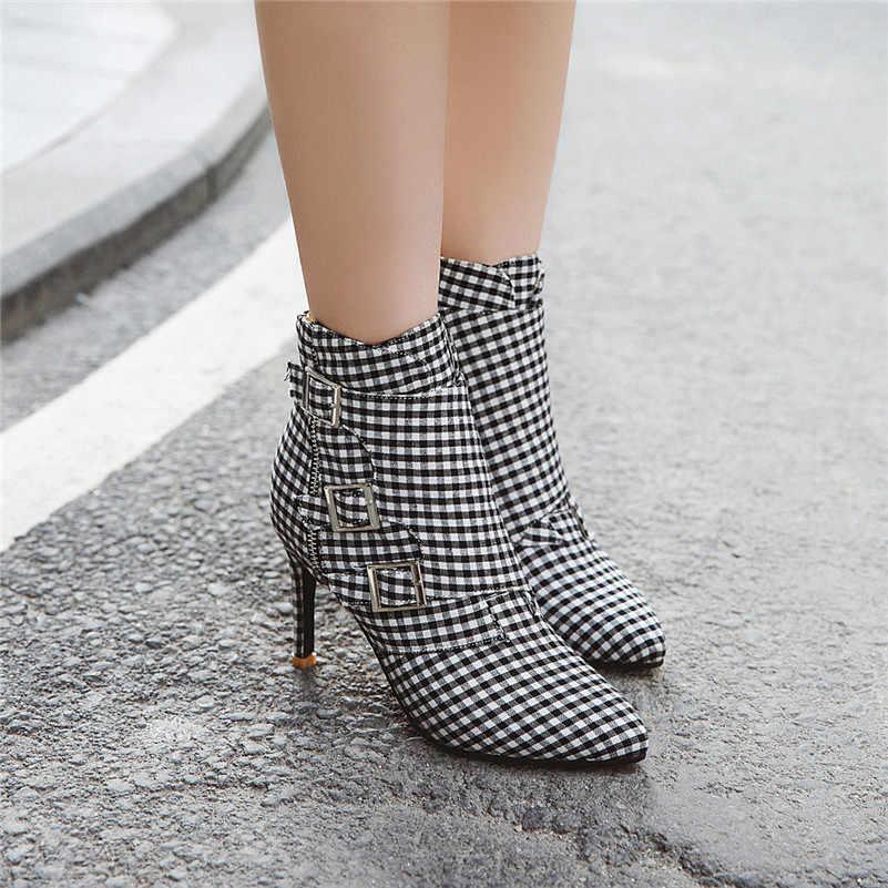 Meotina Kadın Botları Kış yarım çizmeler Şemsiye Toka Ince Topuklu kısa çizmeler Fermuar Süper Yüksek Topuk Ayakkabı Bayan Sonbahar Boyutu 33- 46