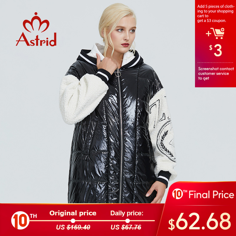 2019 Astrid Winter Jacket Women Black And White Contrast Color Thick Cotton Clothing Leisure Warm Coat Women Parka ZR-3066