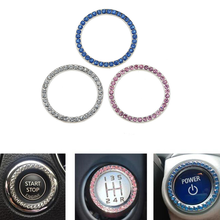 Automobiles Start Switch Button Decorative Diamond Rhinestone Ring Auto SUV Car Decorative Accessories Interior for Girls