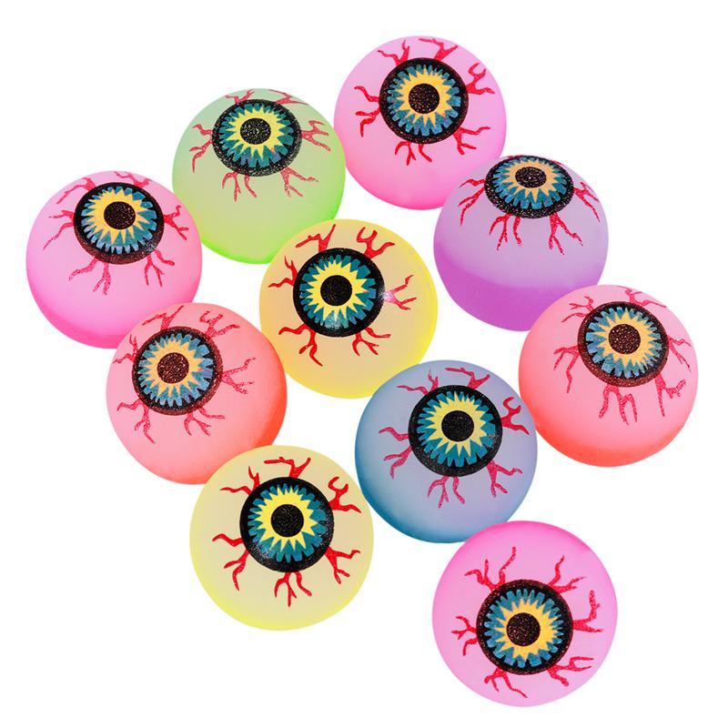 10 pçs 32mm brilho no escuro dia das bruxas bolas bouncy assustador bolas de olho fontes de festa de halloween horror salto luminoso (cor aleatória)