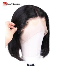 Wignee Short Straight Hair Lace Part Bob Human Wig For Women Natural Black Remy Brazilian 10/12/14 Inch