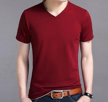 2020 popular design summer men solid color Cotton short sleeve T-shirt