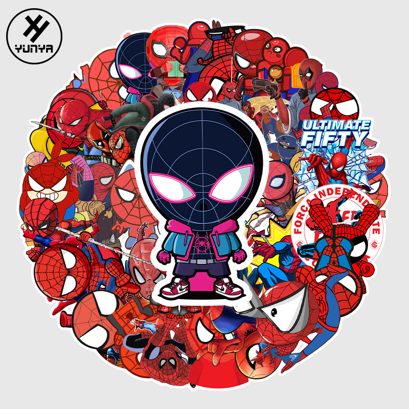 57pcs-spider-man-sticker-font-b-marvel-b-font-super-heroes-avengers-iron-man-stickers-for-phone-moto-laptop-luggage-chrismas-toys-for-children