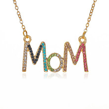 Luokey Crystal Mom Letter Necklaces For Women Alloy Clavicle Chain Pendant Necklace Charm Statement Jewelry For Mothers Day Gift animal zodiac monkey choke necklaces new life rabbit alloy clavicle pendant chocker necklace wedding bride gift