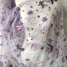 Платье с блестками и вышивкой Вселенная планета Луна сетчатая