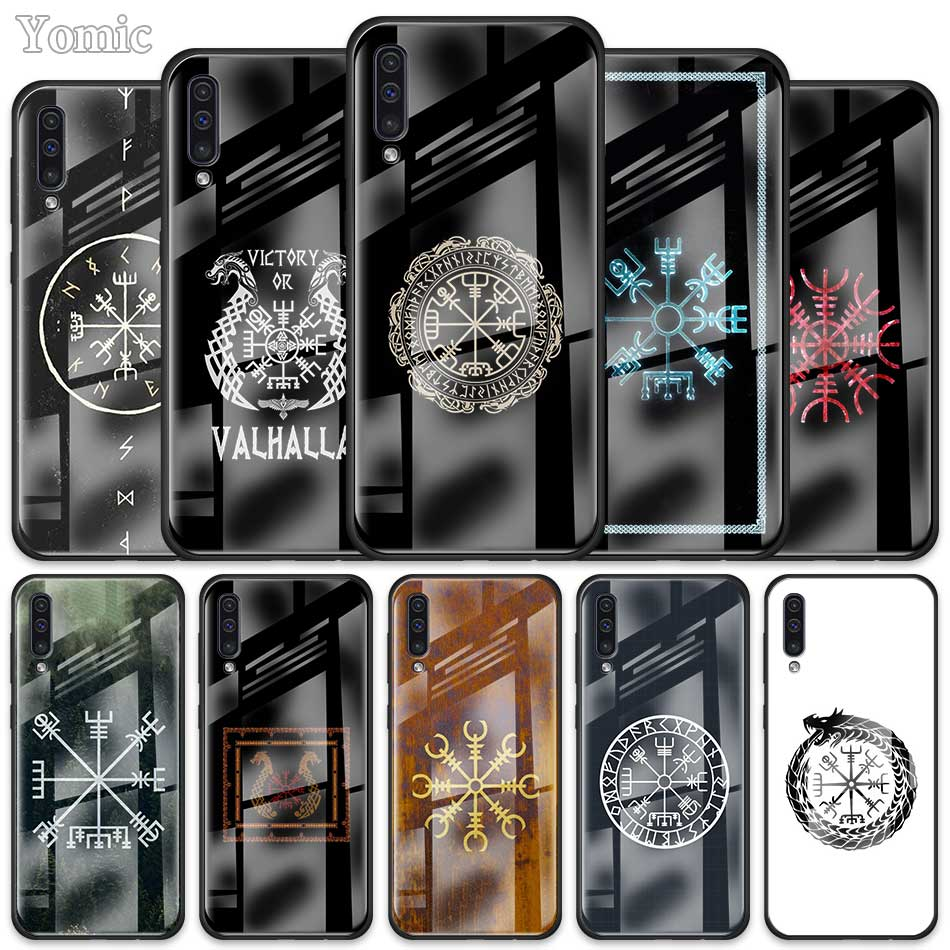 Viking Vegvisir Odin Nordic <font><b>Case</b></font> for <font><b>Samsung</b></font> Galaxy A50 A70 A30 S A40 A51 J4 J6 Plus A71 <font><b>A10</b></font> A20 M30s Tempered <font><b>Glass</b></font> Phone Cover image