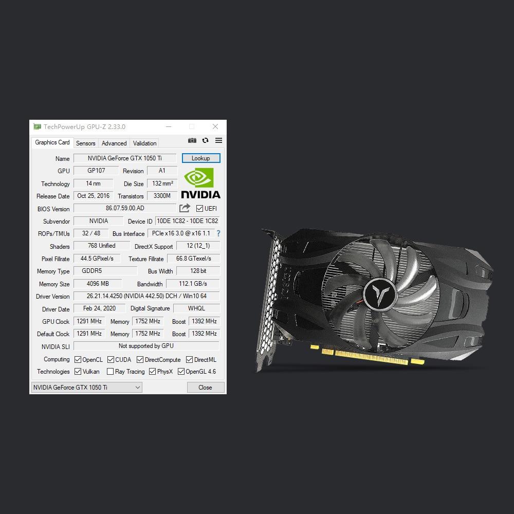 Yeston GTX1050Ti-4G D5 TD Gaming Graphics Card 1291-1392MHz/7008MHz 4G/128bit/GDDR5 Memory DVI-D/HD MI/DP Video Card For Desktop 2
