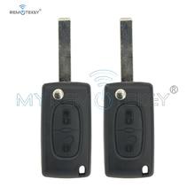 Remtekey 2pcs CE0536 MODEL 207 307 308 car Flip remote key for Peugeot citroen 2 Button 434mhz HU83 key blade remtekey 2 button flip remote key fob case shell blade keychain for peugeot 207 307 308