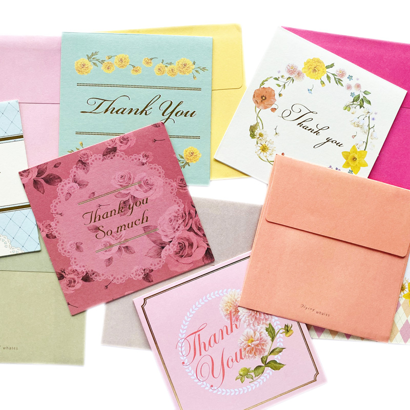 6sets/pack Blossom Thank You Card Set DIY Postcard Greeting Card With Envelope Gift Box Decorative Letter Writing High Quality