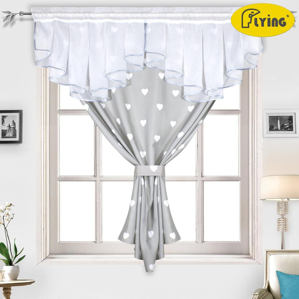 Flying White Voile And Printing Heart Design Curtains Tulle Kitchen Fold Curtain For Window Balcony Rome Pleated Design Stitchin