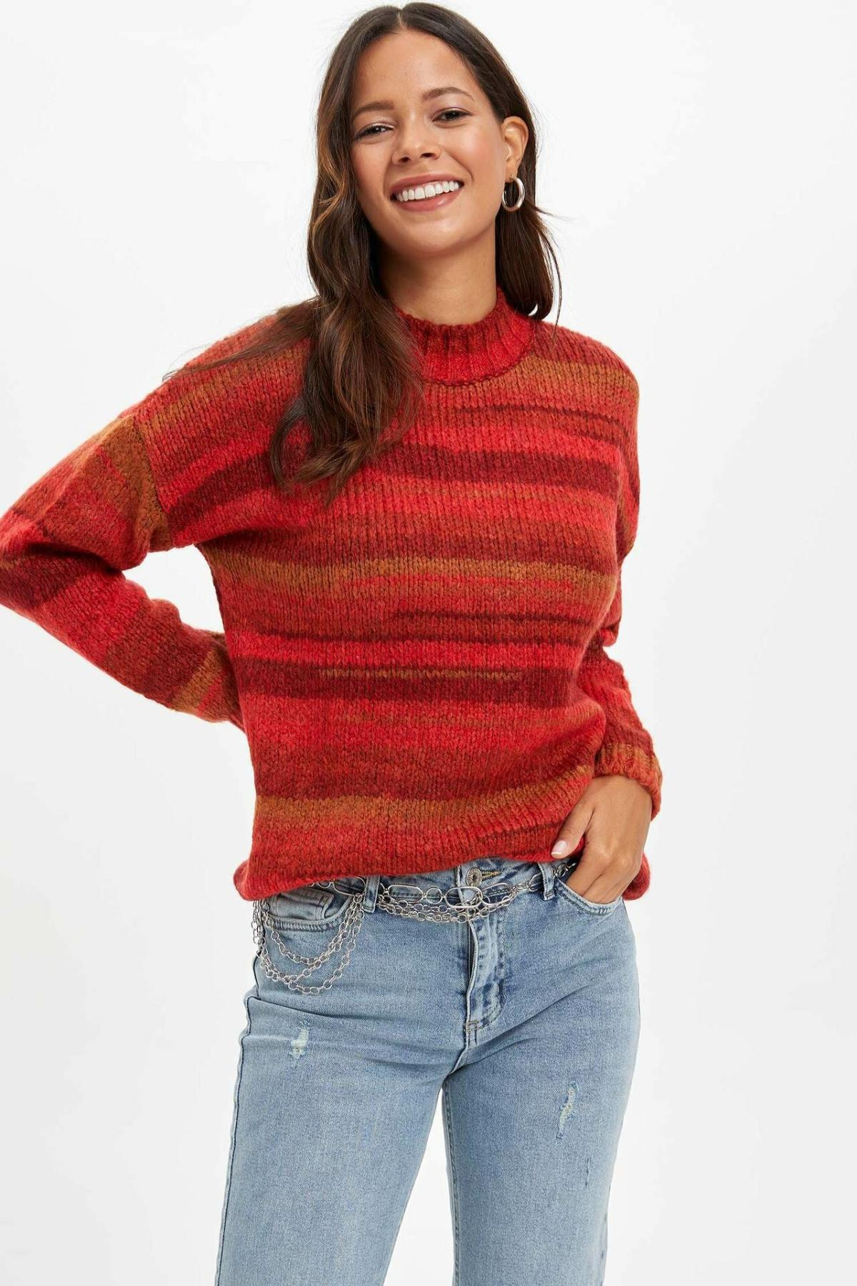DeFacto Woman Red Striped Autumn Pullover Women Long Sleeve Knitted Tops Turtleneck Pullovers -L0777AZ19WN