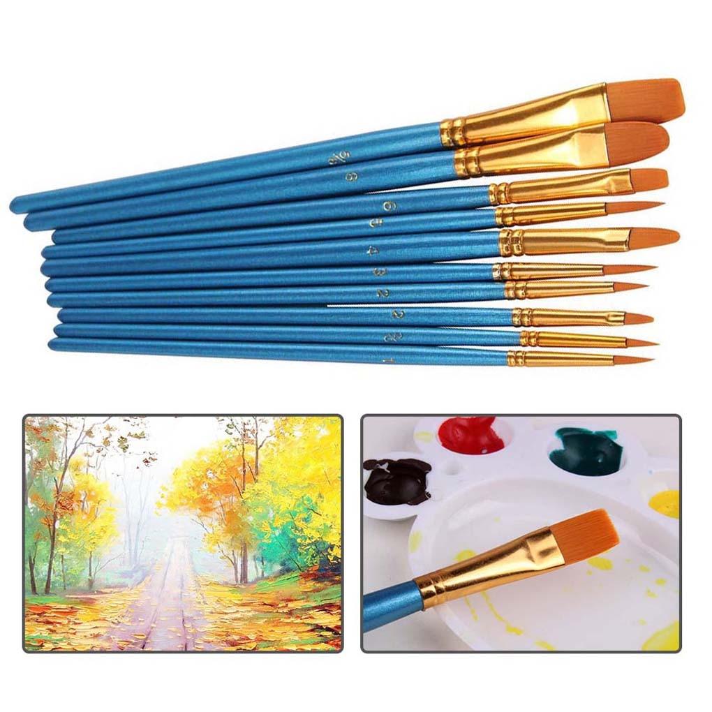 10pcs Watercolor Painting Brushes Set Acrylic Painting Nylon Hair Art Paint Drawing Brushes Kit