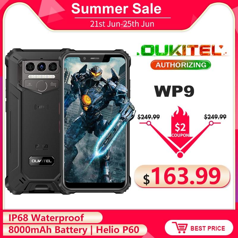 OUKITEL WP9 8000 мА/ч, IP68 Водонепроницаемый прочный смартфон 6 ГБ + 128 Гб 5,86 ''HD + Helio P60 Octa Core глобальные диапазоны 4G мобильный телефон NFC