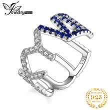JewelryPalace LUCKY Letter Created Blue Spinel Ring 925 Sterling Silver Rings for Women Party Stackable Jewelry