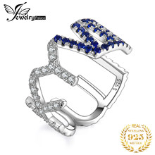 JewelryPalace LUCKY Letter Created Blue Spinel Ring 925 Sterling Silver Rings for Women Party Stackable Ring Silver 925 Jewelry(China)