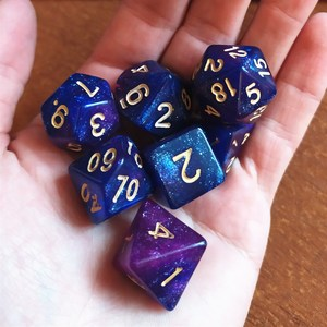 7pcs/set Resin Polyhedral Glitter Dice D4 D6 D8 D10 D12 D20 Entertainment Dice for Board Game