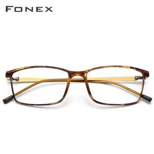 Image 2 - FONEX TR90 montatura per occhiali da uomo in lega miopia occhiali da vista montature per occhiali da vista 2019 coreano occhiali da vista senza viti 9855