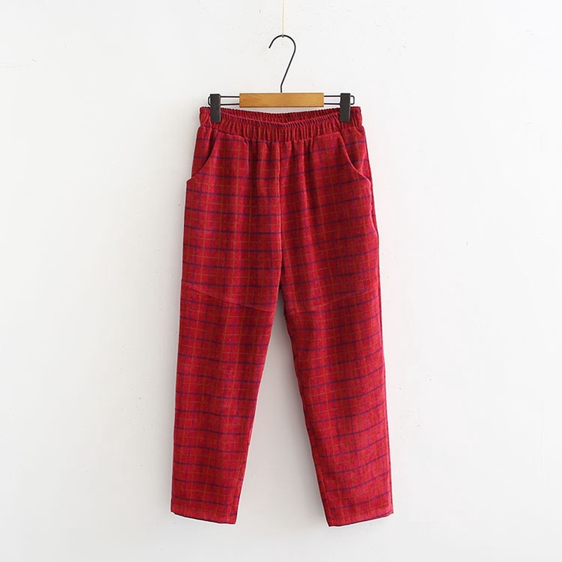 Plus Size XL-3XL Women's Plaid Corduroy Pants Casual Ankle Trousers