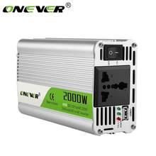 Автомобильный конвертер напряжения, с 12 В пост. тока на 220 В пер. тока, портативный инвертер с зарядкой USB, 2000 Вт, синусоидальная волна