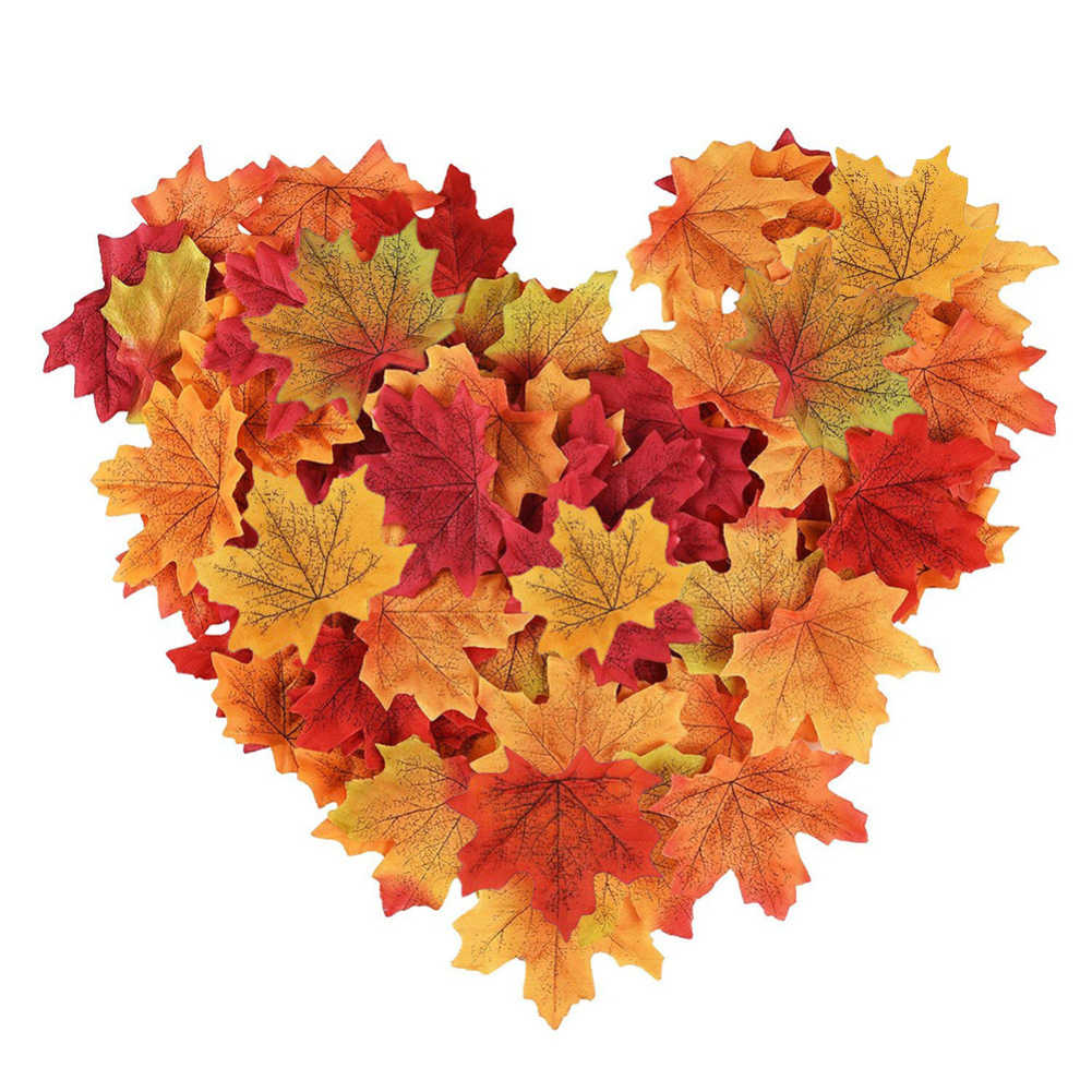 100 pièces plantes artificielles fleurs feuilles d'érable de soie pour la décoration de fête de mariage à la maison automne vif faux fleur feuille livraison directe