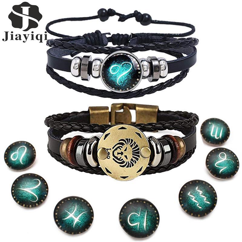 2pcs 12 Constellation Bracelet Zodiac Sign Black Braided Leather Bangle Aries Leo Libra Luminous Dome Jewelry Punk Men Bracelet