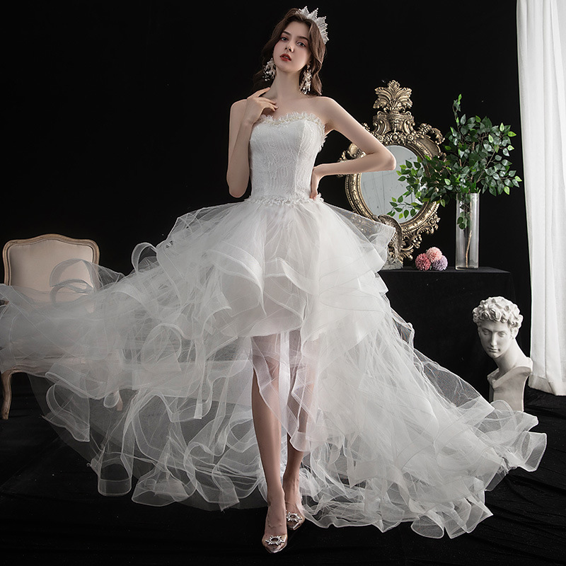 2020 New Vestido De Noiva Front Short Long Back Strapless Wedding Dress Sweet Bride Dress With Train Custom Made Wedding Gown L