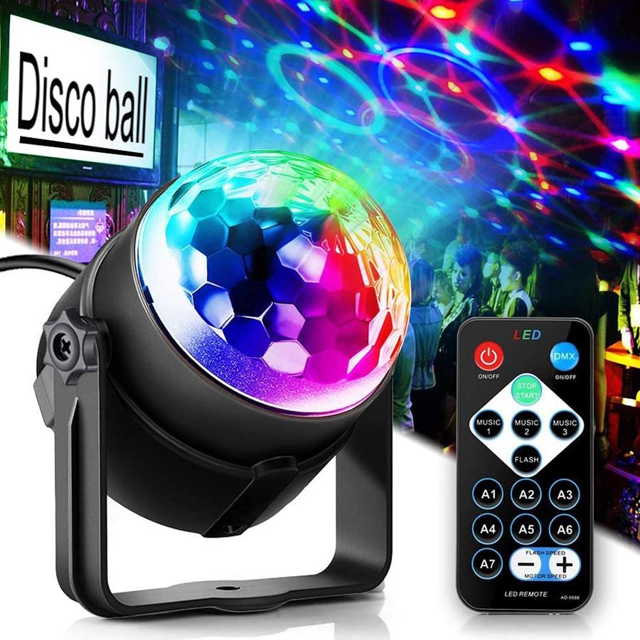 Цветная (RGB) чешское стекло диско шар вечерние светильник s DJ диско светильник светодиодный проектор Стробоскопическая Лампа День рождения ...