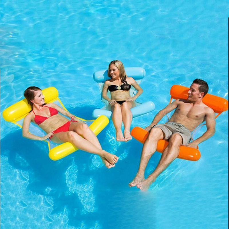 Swimming Pool Inflatable Hammock Bed Foldable Dual Backrest Inflatable Recliner Floating Bed Sofa Inflatable Air Mattress Toys
