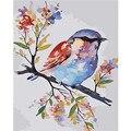 Картина по номерам DIY, дропшиппинг 40x50 60x75 см, милая Цветная птица на ветке дерева, холст, свадебное украшение, художественное изображение, по...