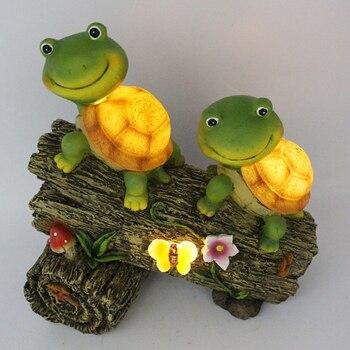 קריקטורה שמש צפרדע גן פסל אורות קישוטי אמנות בעלי החיים פיסול נוף חצר פאטיו דקורטיבי