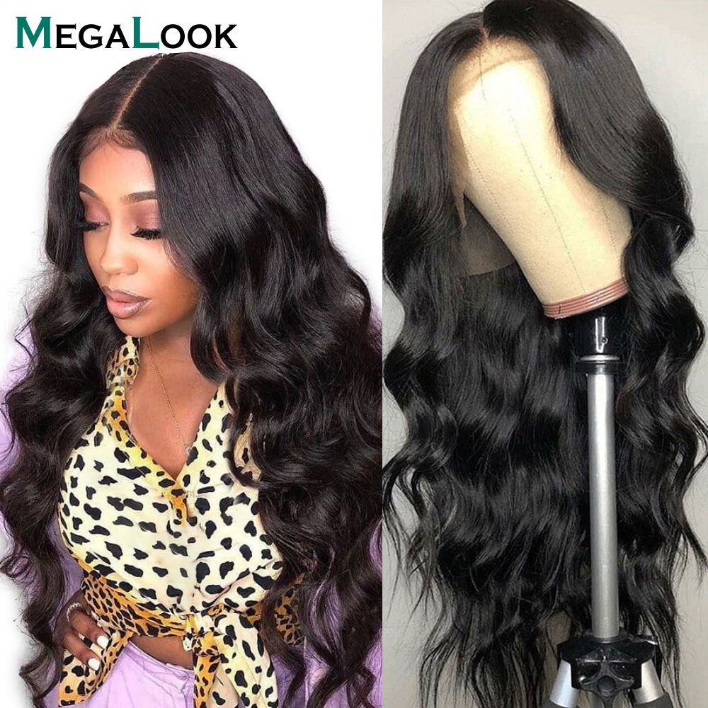 Brazilian Body Wave 13x4 Lace Front Wig Pre Plucked Megalook Remy Human Hair Wig 180 Density Lace Closure Frontal Wig For Women
