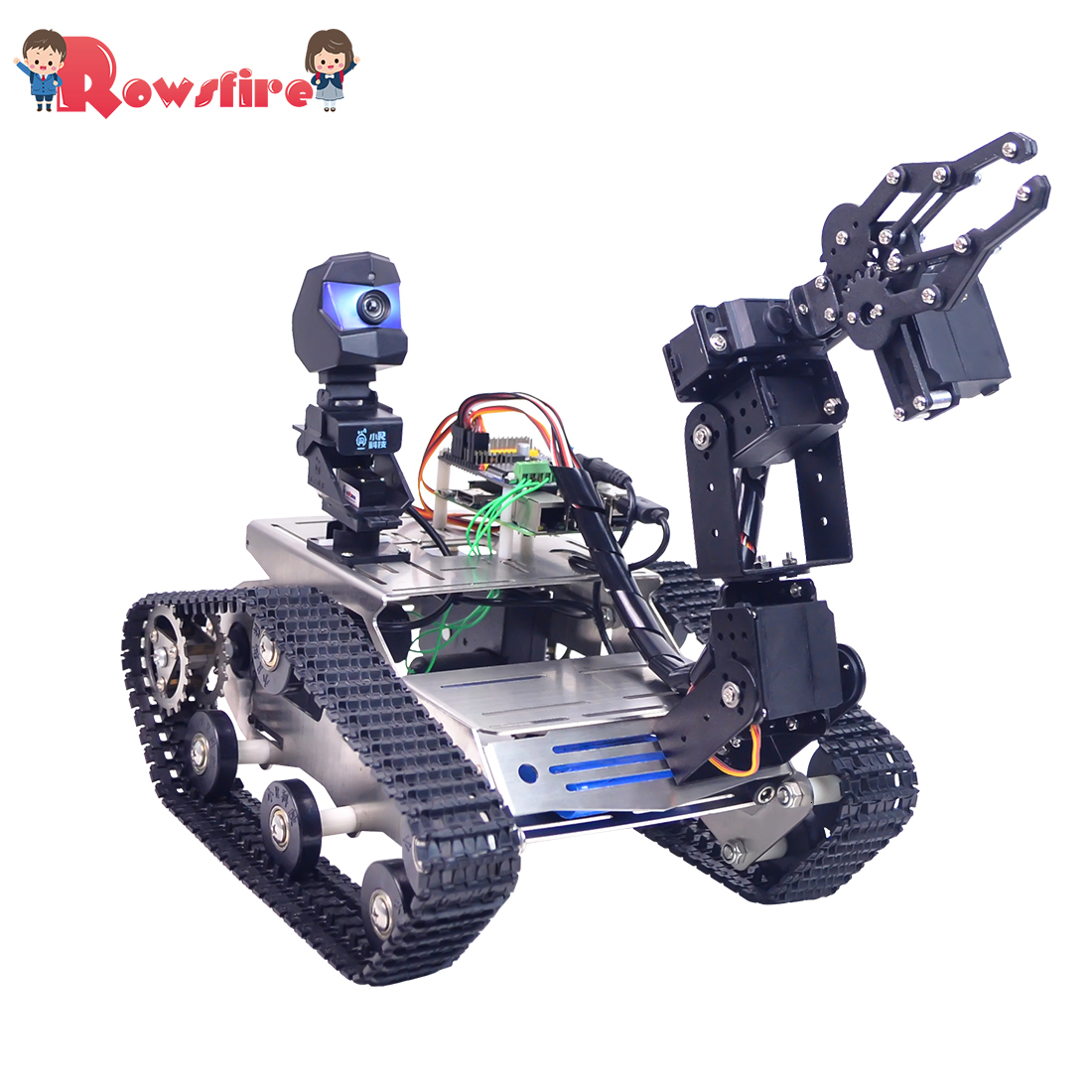 Programmable TH WiFi FPV Tank Robot Car Kit With Arm For Arduino MEGA - Standard Version/Avoidance Version Small/Larger Claw