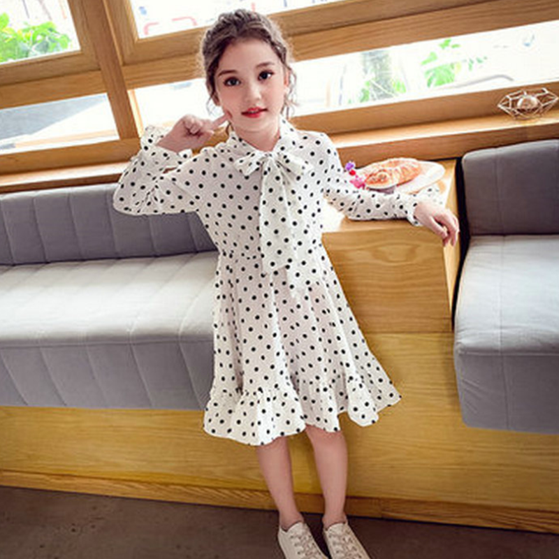 Mihkalev 2020 Spring Kids Clothes Girls Long Sleeve Princess Dresses Pattern Baby Girl Dot Party Dress Children Clothing Costume