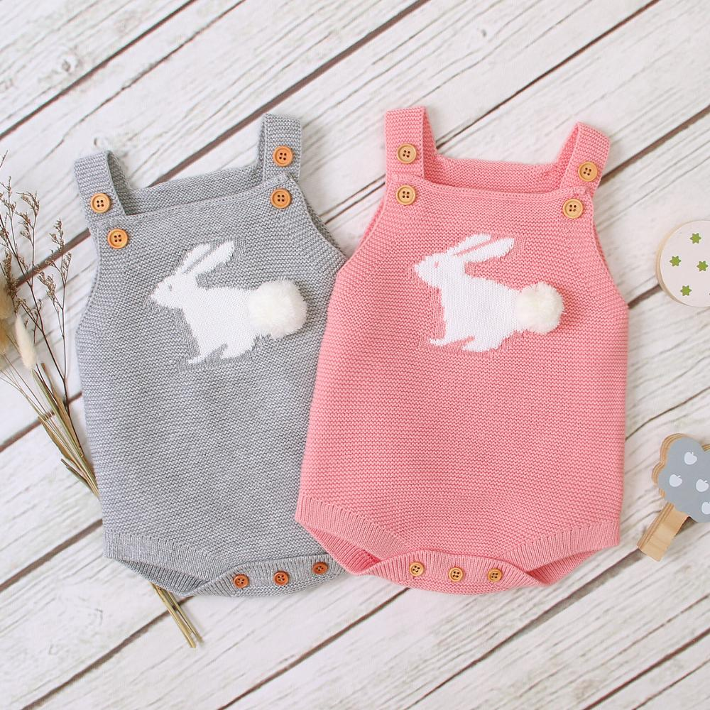 Baby Girl Sleeveless Bodysuit Fashion Autumn Outerwear Newborns Bebes Boys Coveralls Cartoon Rabbit Knitted Infantil Kids Outfit