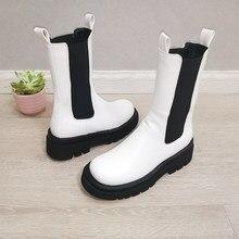 Meotina mulheres botas plataforma dedo do pé redondo calcanhar grosso meados de bezerro botas mulher moda deslizamento-on chelsea botas outono inverno branco 42 43