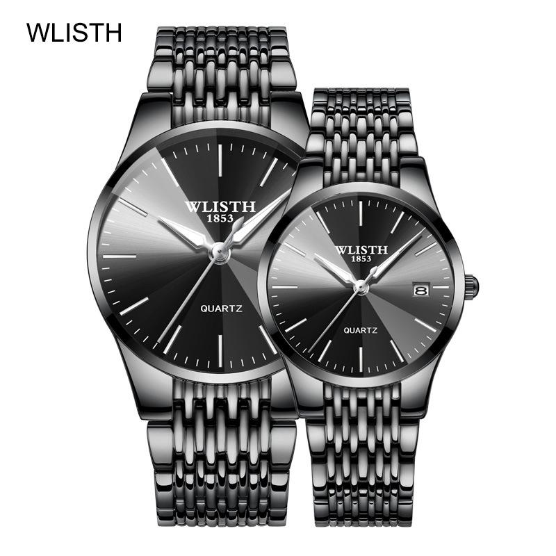 TOP Brand Luxury WLISTH Couple Watch Fashion Stainless Steel Lovers Watch Quartz Wrist Watches For Women & Men Analog Wristwatch