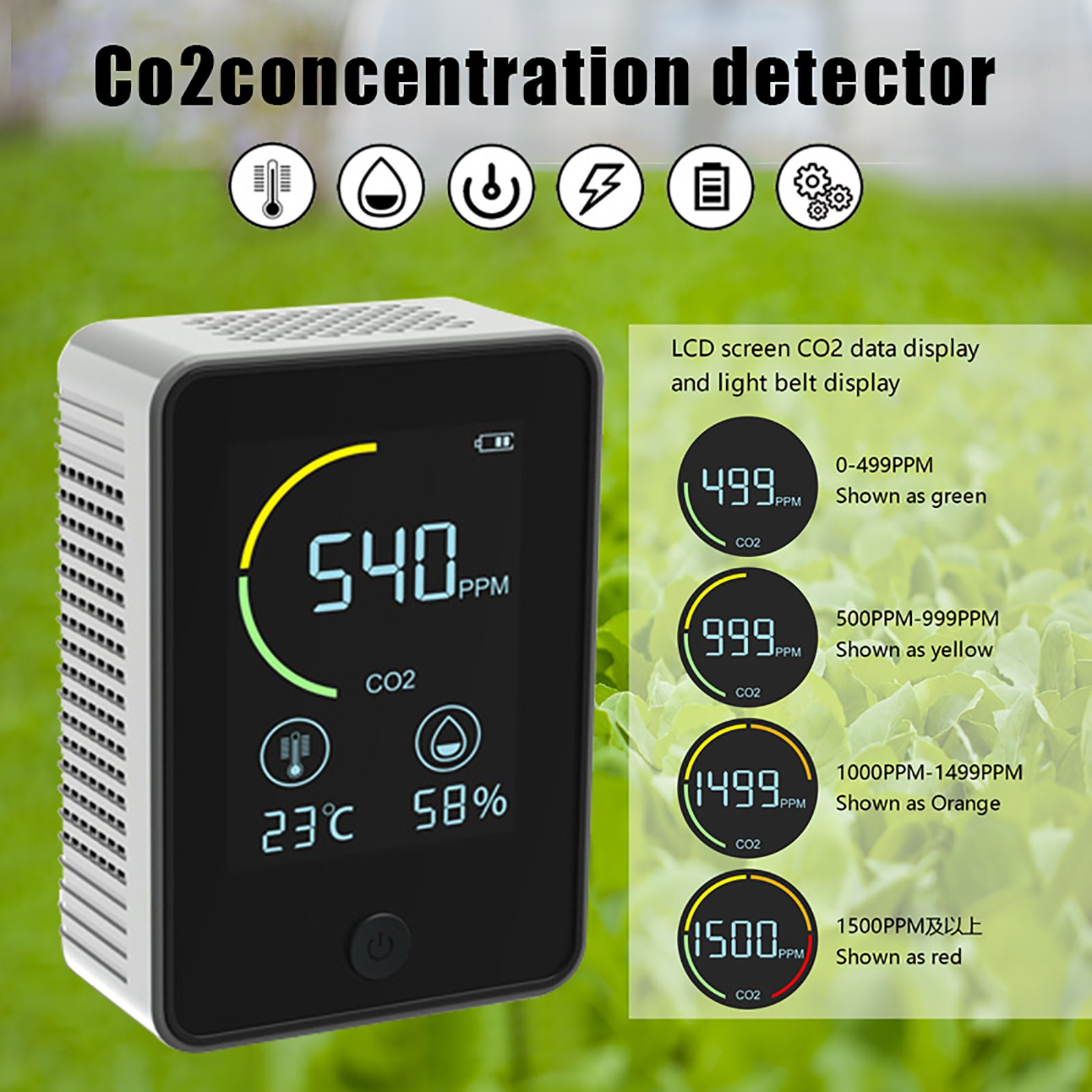 Usb Rechargeable Co2 Meter Air Quality Monitor Carbon Indoor Dioxide Sensor Concentration Detector Lcd Backlight #g