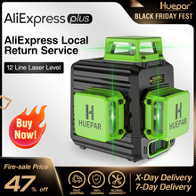 Huepar 3D Cross Line Self-leveling Laser Level 12 lines Green Beam Li-ion Battery with Type-C Charging Port & Hard Carry Case