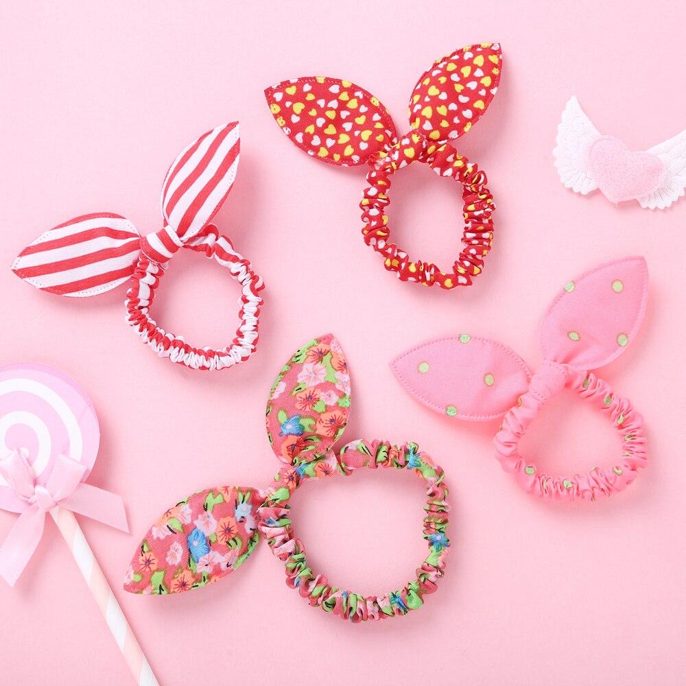 10 Pcs Bunny Ears Bows Elastic Hair Bands For Children Baby Girls Rubber Headband Set Scrunchies Kids Cute Hair Accessories 2020