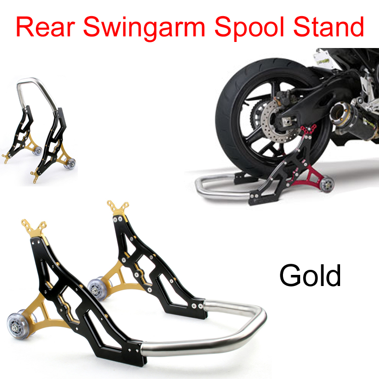 Areyourshop   Gold   Rear Swingarm Spool Lift Stand Swing Arm Roller Bearings  Aluminum For Moto Dirt Pit Bike Paddock
