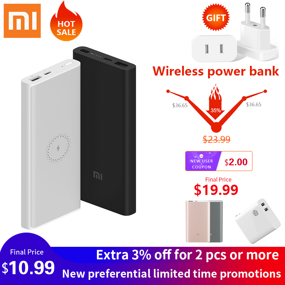 XiaomiPower Bank 10000mAh Portable Charging PowerBank <font><b>10000</b></font> <font><b>mAh</b></font> USB PoverBank External Battery Charger For Xiaomi Mi 9 8 iPhon image