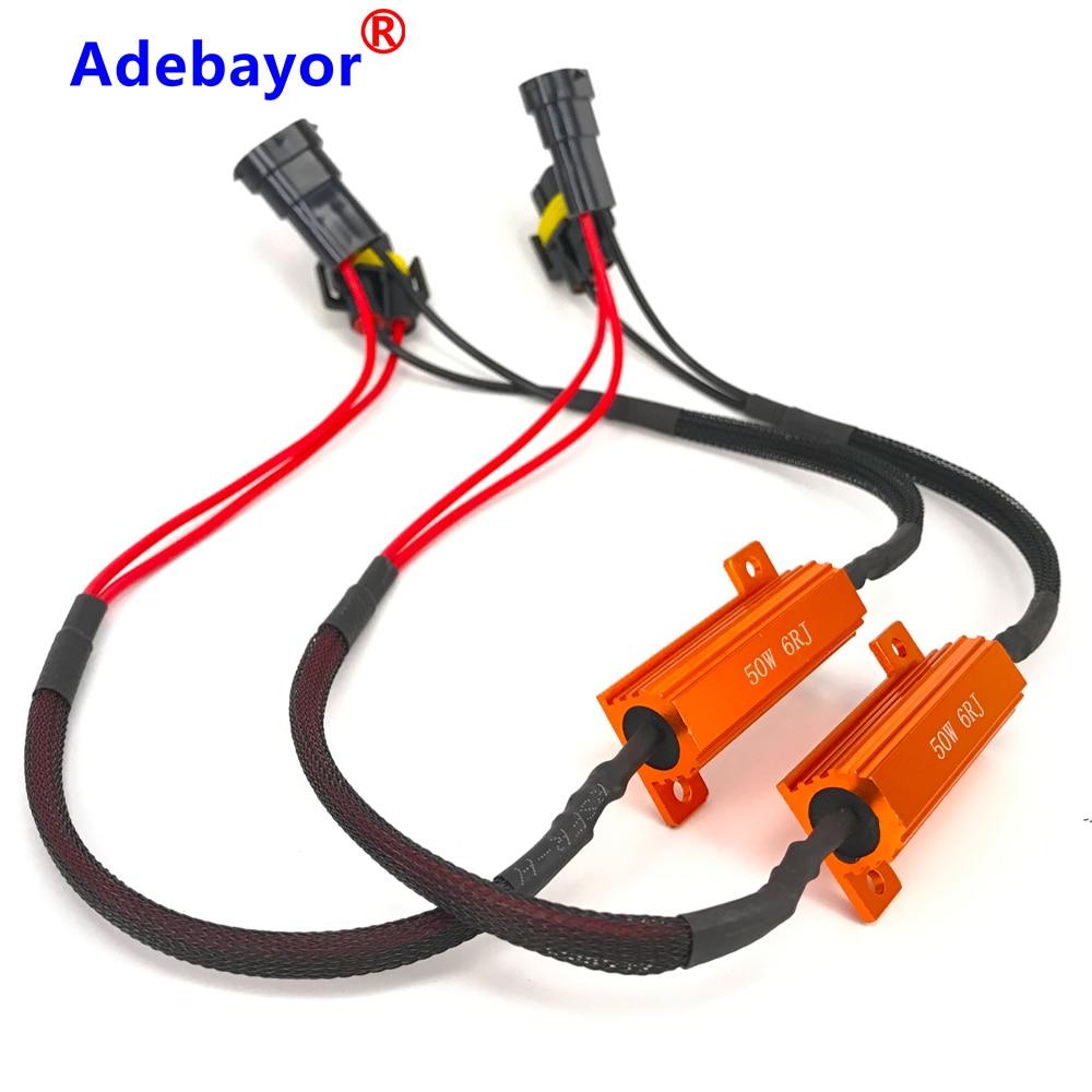 Adaptateur de harnais DC12V de fil Canbus | 2 pièces H11 résistant au décodeur, adaptateur de harnais pour les accessoires de voiture