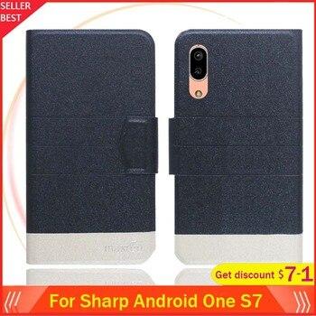 Перейти на Алиэкспресс и купить Для Sharp Android One S7 чехол 5,5 дюймФлип ультра-тонкий кожаный эксклюзивный чехол для телефона Модный чехол-книжка с отделениями для карт