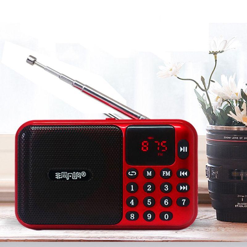 OOTDTY Mini Digital Radio Receiver AM/FM USB Micro SD TF Card MP3 Music Player Speaker